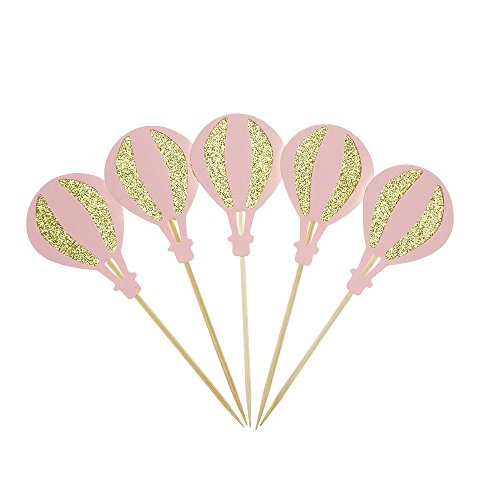 Pink With Glitter Gold Hot Air Balloon Cake Cupcake Toppers for Birthday Wedding or Ba-by Shower Picks Decor And Cupcake Party Pick of 12 by GOCROWN