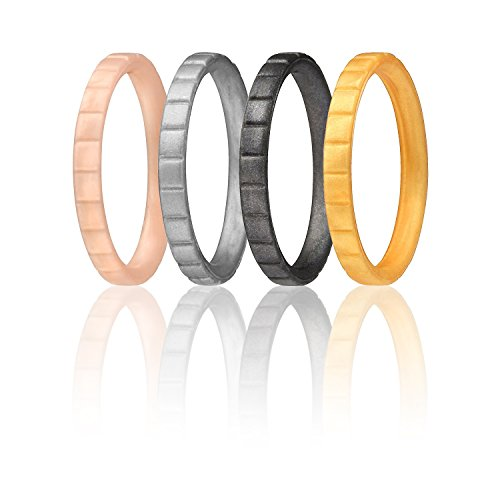 ROQ Silicone Wedding Ring for Women, Set of 4 Thin Stackable Silicone Rubber Wedding Bands Lines - Rose Gold, Gold, Silver, Black Metalic - Size 6