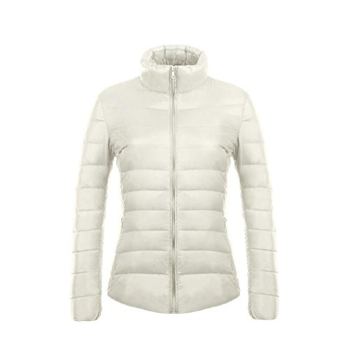 Ake Mujer Ultra-light Stand Collar Puffer Down Weatherproof Coat White