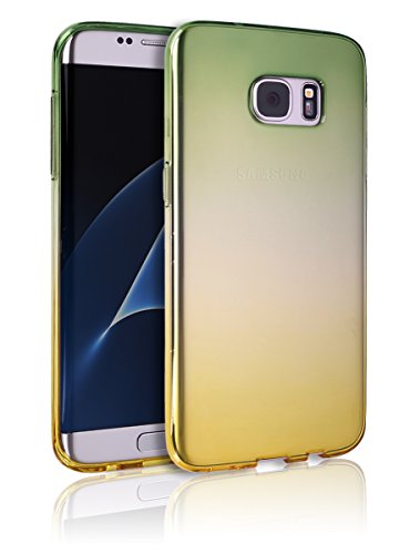 S7Edge Case [Ultra Slim TPU Bumper] [Flexible Case] Colorful Gradient Rainbow Cover S 7 Edge Anti-Scratch Shock Absorption Graphic Soft Shell Light Weight Samsung Galaxy S7 Edge (Green with Yellow)