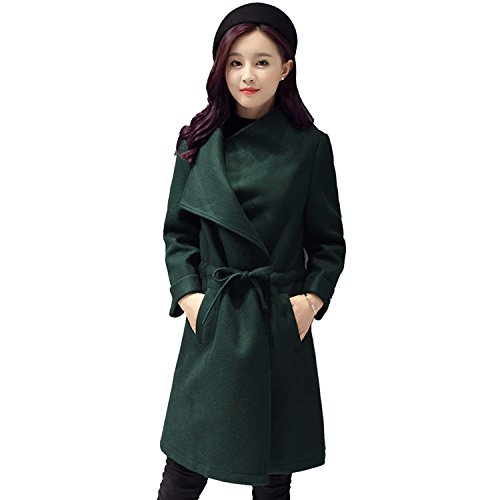 Sumchimamzuk Damen Mantel Trenchcoat Herbst Winter Wasserfall Mantel Lang Jacke Dunkelgrün