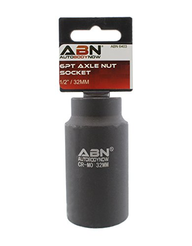 ABN Axle Nut Socket, 32mm, 1/2in Drive, 6 Point - Universal for All Vehicle 6pt Installation, Removal, Repair