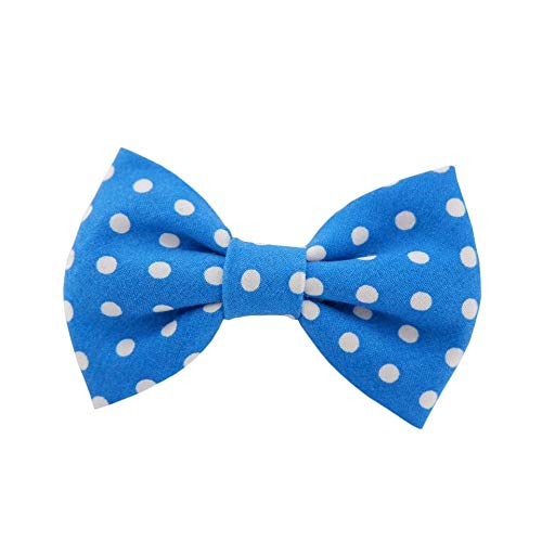 THE DOK Blue Polka Dot – Dog Cat Pet Bow Tie Bowtie Collar Accessory for Large Dogs Handcrafted Bow Tie Christmas New…