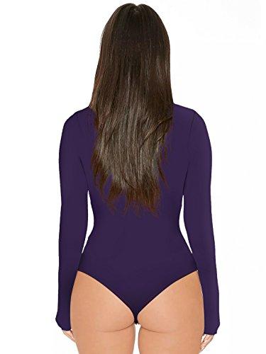 Haut Onlyoustyle Unie Jumpsuits Combishorts Top Longues Rompers Bodysuit Leotard Fashion Haut Femme Casual Manches de Moulant Col Justaucorps Violet Couleur 115rRf