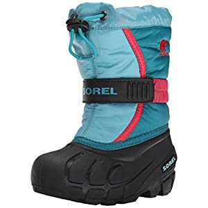 Sorel Youth Flurry AQU TGO P in Cold Weather Boot (Toddler/Little Kid/Big Kid), Aqua/Tango, 7 M US Big Kid