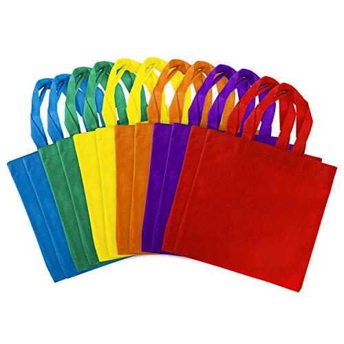 Halloween Projects Printables (Assorted Colorful Solid Blank Tote Party Gift Bags Rainbow Colors with Handles for Birthday Favors, Snacks, Decoration, Arts & Crafts, Event Supplies (12 Bags) by Super Z Outlet (12