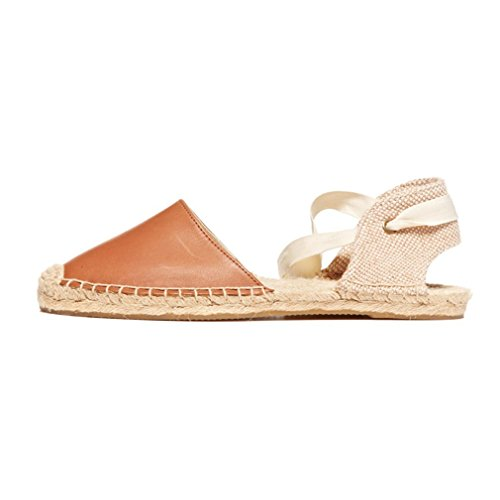 SUKULIS Women Sandals Summer Shoes New Summer Flat Sandals Women Lace Up Espadrilles Sandals Brown Espadrilles 5 by SUKULIS