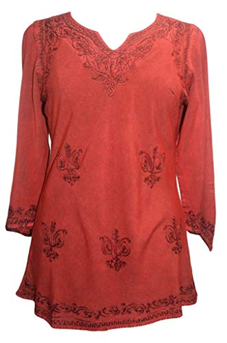 Agan Traders 127 B Medieval Renaissance Vintage Gypsy Rayon Top Blouse Tunic ~ India (2X, B. Red)