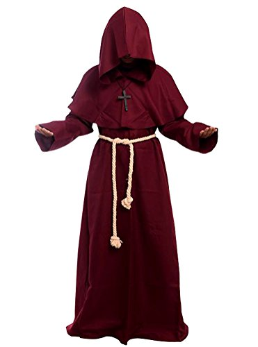 [Cos2be Costume For The Medieval Monks Robe Various Styles (X-Small, Wine)] (Priest Halloween Costume Deluxe)