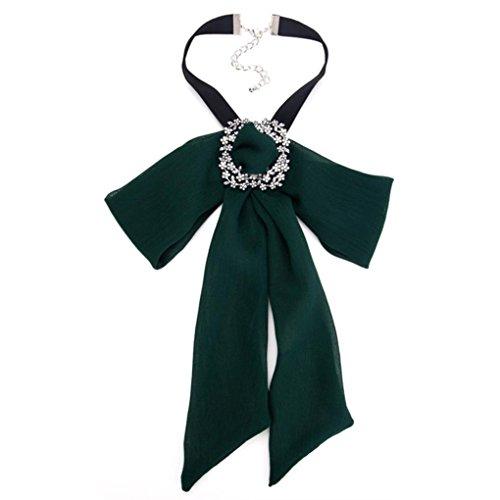 Highpot Fashion Women Necklace Tie Shirt Bow False Collar Cloth Accessory (Green)