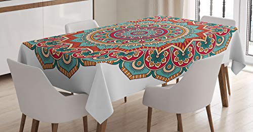 Mandala Tablecloth by Ambesonne, Traditional Indian Circle Meditation Folk Spiritual Culture Print, Dining Room Kitchen Rectangular Table Cover, 52W X 70L Inches, Turquoise Teal Orange -