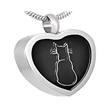 Casket Etcetera CAT HEART Memorial Jewelry Urn Necklace