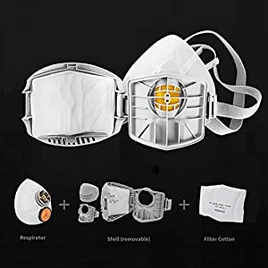 KISCHERS New Upgrade Silicone Anti-Particulate Respirator,Reusable Dust Half Facepiece for Painting, Machine Polishing, Welding and Other Work Protection (Color: Grey)