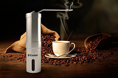 iCooker Manual Coffee Grinder Maker Best Spice and Coffee Bean Grinder Stainless Steel Blades Adjustable Portable...