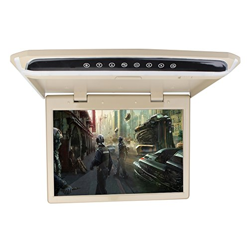 "15.6"" Overhead Car Video Player Roof Mount Monitor with HDMI 1920 x 1080 Wide View Screen Support 1080P Fire TV Stick FM SD/USB ( Without DVD Drive )"