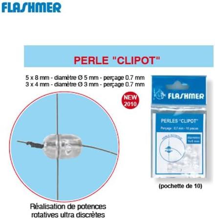Flashmer Perle Clipot montage pêche Diamètre 8 x 5mm intérieur 0,7mm 20 perles