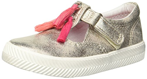 Keds Girls' Daphne Herringbone Sneaker, Gold, 4.5 Medium US Toddler