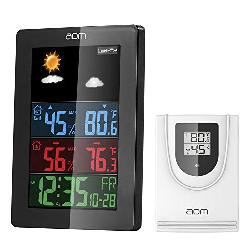 AOMKS Weather Station, Indoor Outdoor Thermometer with Sensor, Outdoor Digital Thermometers Weather Clocks with Temperature/Humidity/Calendar (Black)