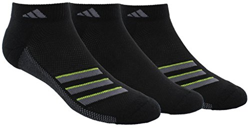 Mens Climacool 3 Stripes (adidas Socks Men's Climacool Superlite Stripe 3 Pack Low Cut Socks, Black/Onix/Semi Solar Slime, Size 6-12)