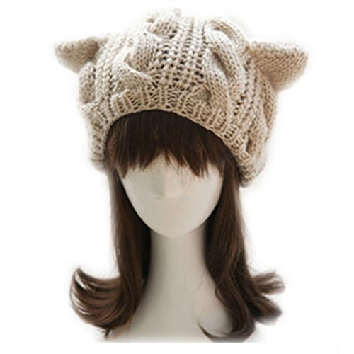Dealzip Inc® Women Ladies Baggy Beret Chunky Knitted Cute Cat Ear Design Winter Warm Soft Cable Knit Women Beanie Cap Hat Khaki