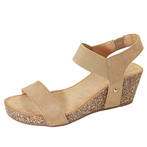 Wedges Shoes for Women Sandals,Londony❤ღ♕Women's Platform Sandals Espadrille Wedge Ankle Strap Studded Open Toe Sandals Beige Audrey Clutch In Black