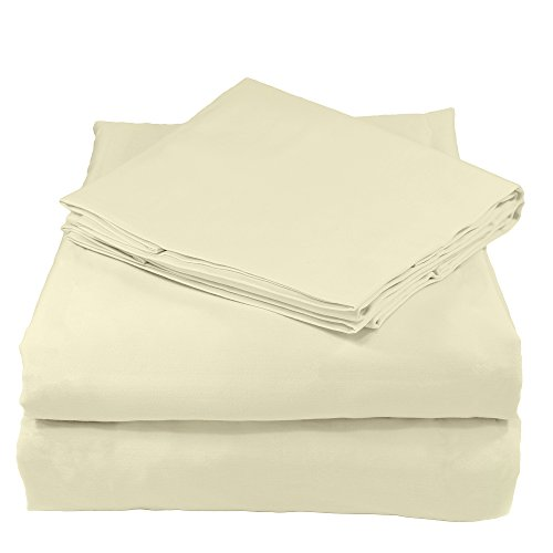 Whisper Organics 100% Organic Cotton Sheet Set, 400 Thread Count - GOTS Certified (Queen, Natural)