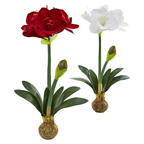 Nearly Natural 25 in. Amaryllis Artificial (Set of 2) Silk Flowers Multi