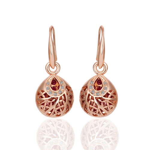 Women Fashion Jewelry Alloy Base Gold-Plated Rhinestone Crystal Rose Gold Color Drop Ball (Crystal Ball Clip)