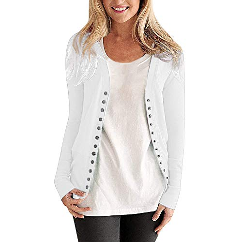 - Clearance HULKAY Women's Long Sleeve Snap Button Down Solid Color Knit Ribbed Neckline Cardigans for Womens(White,M)