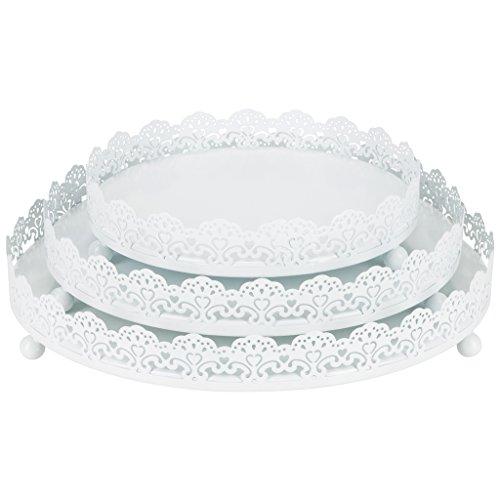 Sophia 3-Piece White Decorative Tray Set, Round Metal Ornate Accent Vanity Food Display Serving Platter Holder Plates