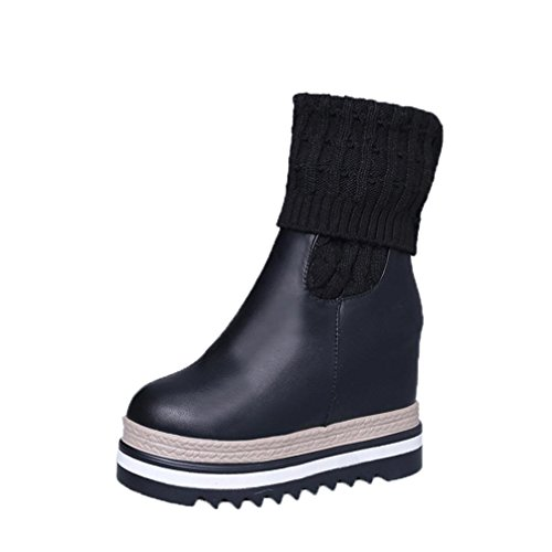 Winter Boots,Hunzed Women Wedges Knee-High Boots Ladies Casual Cotton-Padded Warm Winter Shoes (Black, 38) (Women Boots Wedge Shaft)