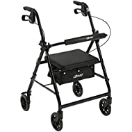 """Drive Medical Aluminum Rollator Walker Fold Up and Removable Back Support, Padded Seat, 6"""" Wheels, Black"""