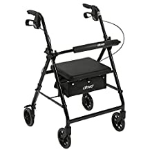 "Drive Medical Aluminum Rollator Walker Fold Up and Removable Back Support, Padded Seat, 6"" Wheels, Black"