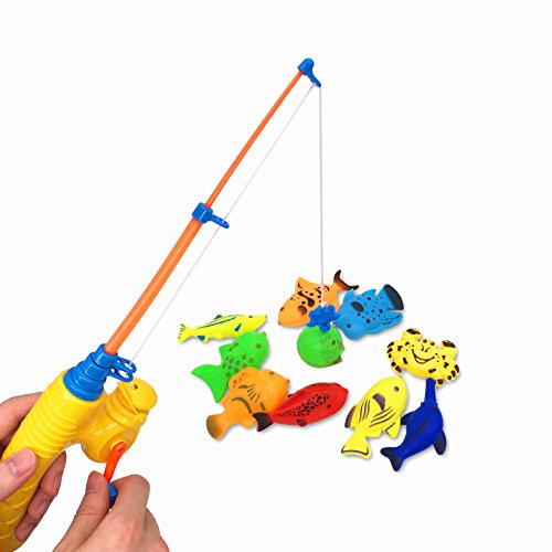 Bath Toy 39 Piece Magnetic Fishing ToyOriginal Color Waterproof Floating Fishing
