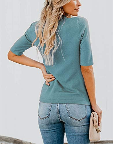 LIYOHON Women's Casual Plain T-Shirt Mock/Turtle Neck Half Sleeve Solid Blouses Slim Fitted Cute Tee Tops