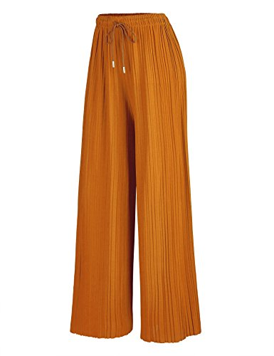 (Womens Pleated Wide Leg Palazzo Pants with Drawstring OS Mustard)