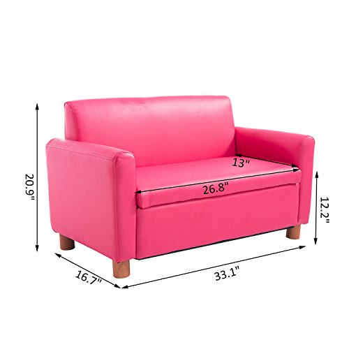 Qaba 33 Kids PU Leather Storage Sofa - Pink by Qaba (Image #7)
