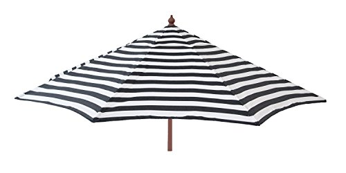 (DestinationGear 1441 Euro Wood Patio Umbrella Acrylic Stripe Black and White )