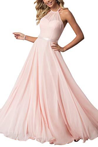 - Bridesmaid Dresses Long Halter Chiffon Aline Prom Formal Wedding Party Dress Womens Pink 6