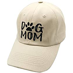 Waldeal Embroidered Women Dog Mom Vintage Distressed Dad Hat Adjustable Baseball Cap Beige