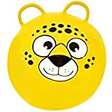 Hippity Hop Exercise Hopper Jump Balls with Animal Face and Two Handles for Kids (Yellow Bear)