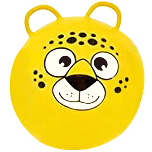 Two Hopper (Hippity Hop Exercise Hopper Jump Balls with Animal Face and Two Handles for Kids (Yellow Bear))