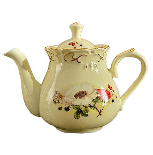 ufengke European Ivory Porcelain Printing Teapot, Large Capa