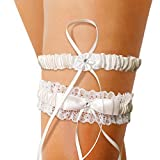 alaxy ivory white lace wedding garters for brides, lace pearl ribbon garter with wedding dress