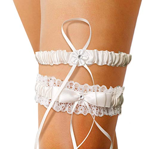 Alaxy Ivory White Lace Wedding Garters for Brides, Lace Pearl Ribbon Garter with Wedding Dress Embellish