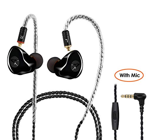 (2019 Upgrade with Mic) in-Ear Monitors Headphone Wired Earbuds High Fidelity with MMCaX Detachable Cble, Noise-Isolating Sweatproof Sports Headphone(Black, with Mic)