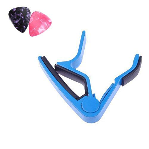 Guitar Capo,Single Handed Key Clamp Capo for Acoustic & Electric or Folk Guitar, Bass, Ukulele, Banjo and Mandolin with 2 Picks (Blue)