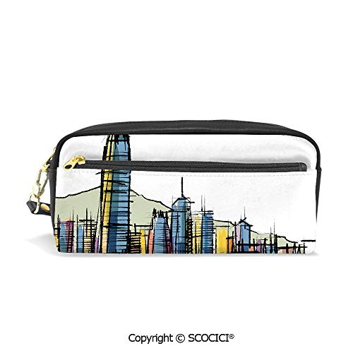 Students PU Pencil Case Pouch Women Purse Wallet Bag Sketch Style Asian Hong Kong City Buildings with Tall Skyscrapers Urban Cartoon Art Decorative Waterproof Large Capacity Hand Mini Cosmetic