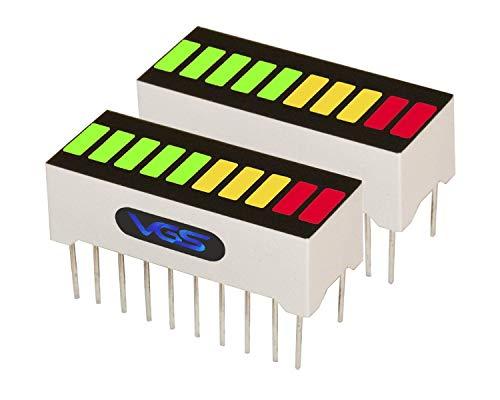 Led Bar Graph - New 2pcs. 10 Segment LED Bar Graph Display 3 Colors(2xSuper Red+3xYellow+5xSuper Green) Single led bar Graph(DIY or Arduino)