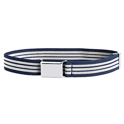 Buyless Fashion Kids and Baby Adjustable and Elastic Dress Stretch Belt with Silver Buckle - 5101-Navy-White-Stripe